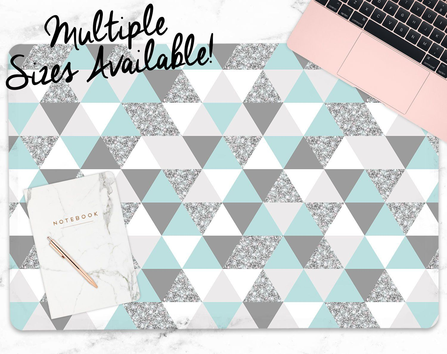 Blue & Silver Triangle Large Desk Mat multiple sizes