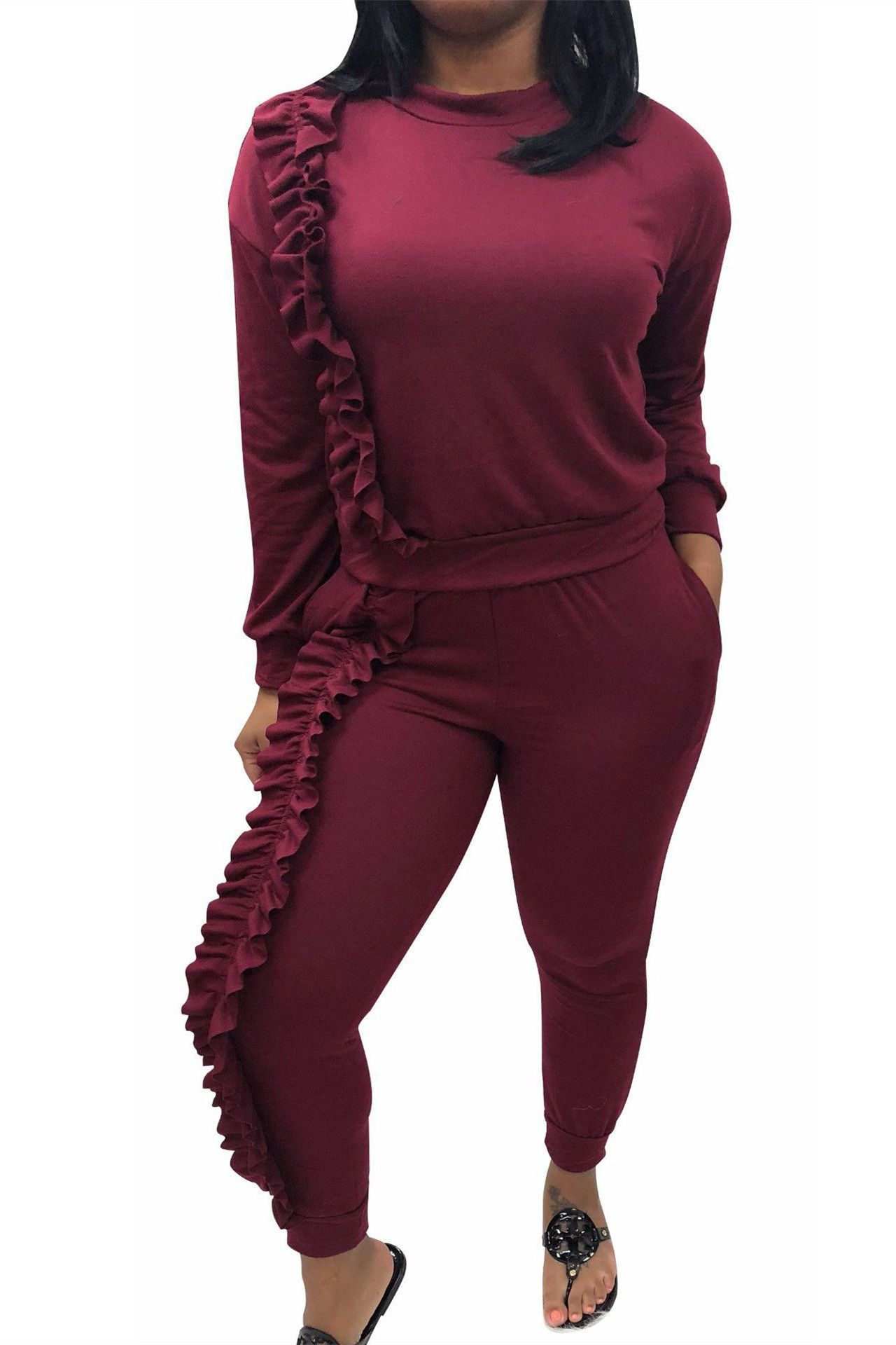 cde25d5bb5632d Casual Long Sleeve Ruffle Stretch Spring Winter Two Piece Women Jumpsuit