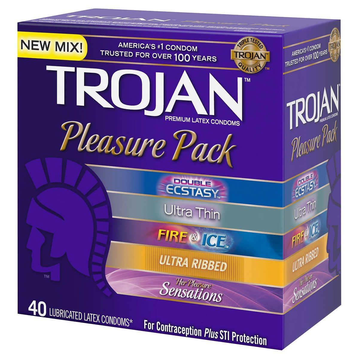New trojan pleasure pack 40 assorted condoms free
