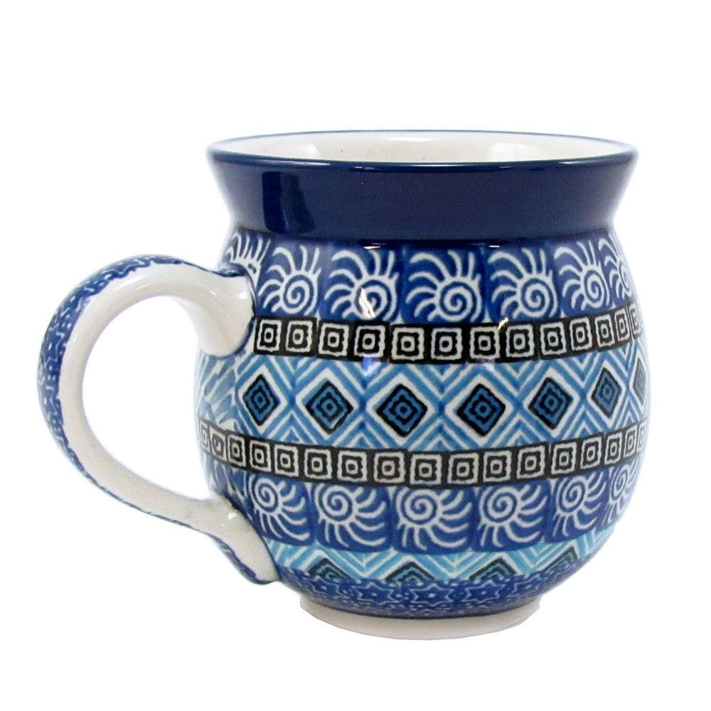 Polish Pottery Handmade 10 oz Bubble Mug 070 Black Diamonds