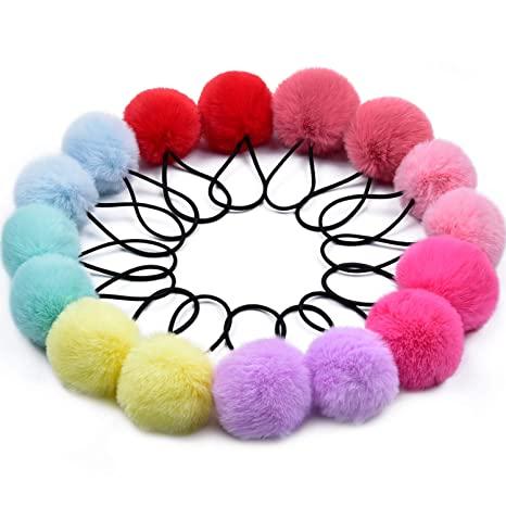 Colorful Pom Pom Hair Bow  Clip cotton candy ball pom pom Handmade hair accessory
