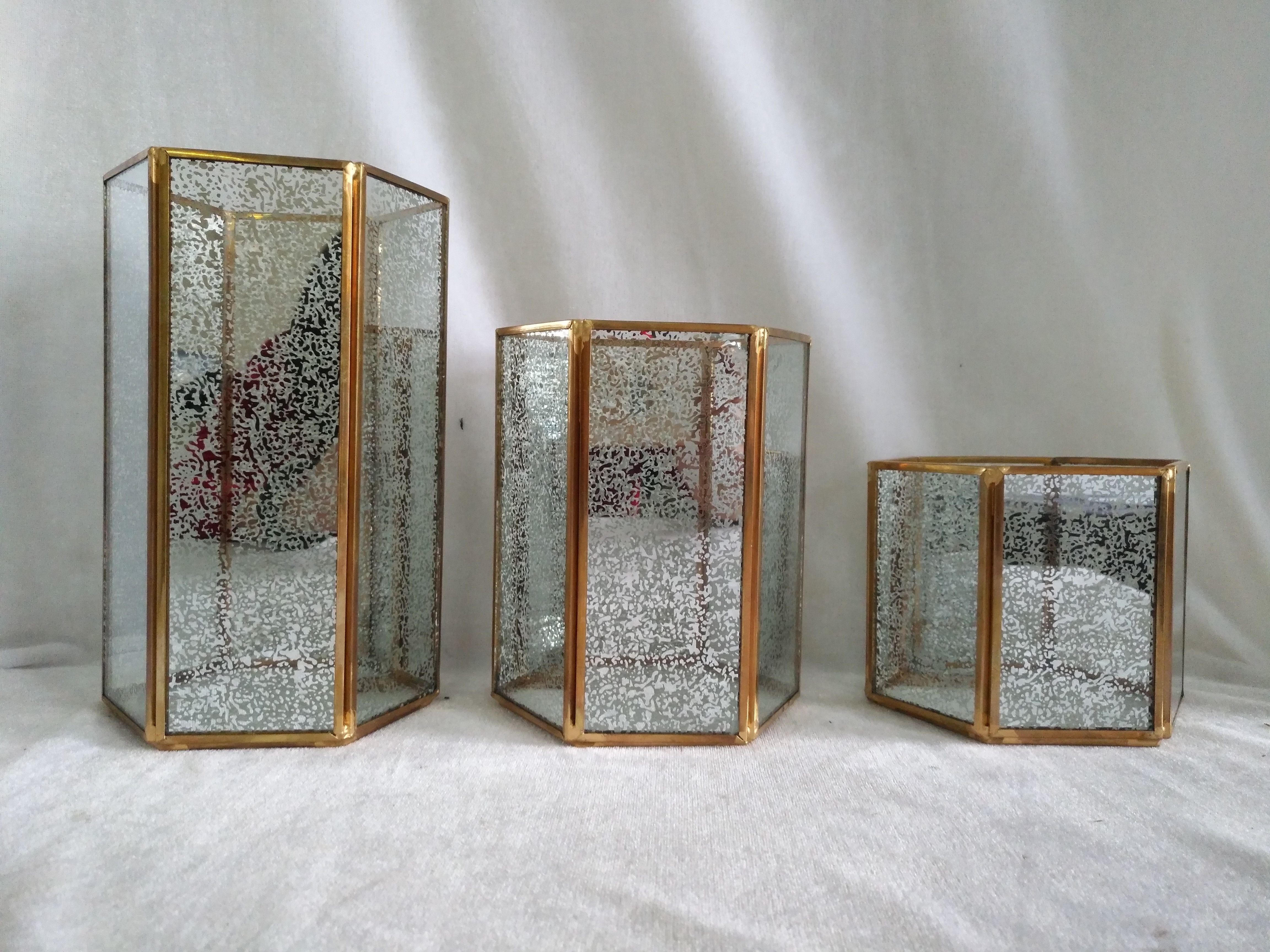 Geometric Lanterns In Silver Mercury Glass Geometric Lantern Glass Decor Geometric Terrarium
