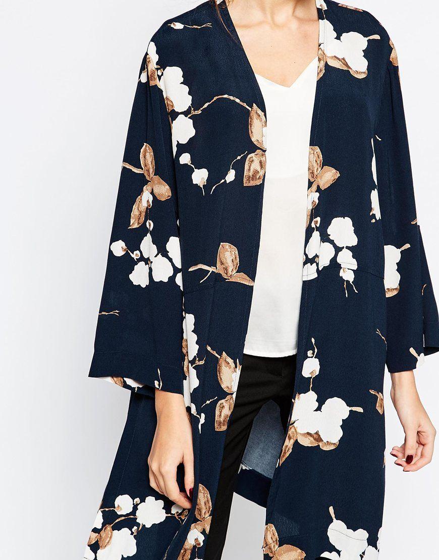 Ganni Crepe Kimono in Floral Print at asos.com