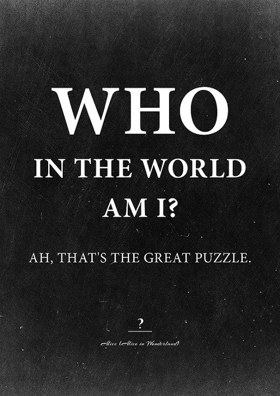 Alice In Wonderland Decor Who In The World Am I Funny Poster Lewis Caroll Quote Instant Download Wall Decor