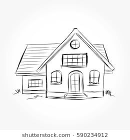 Sketch of house architecture .Drawing free hand Vector
