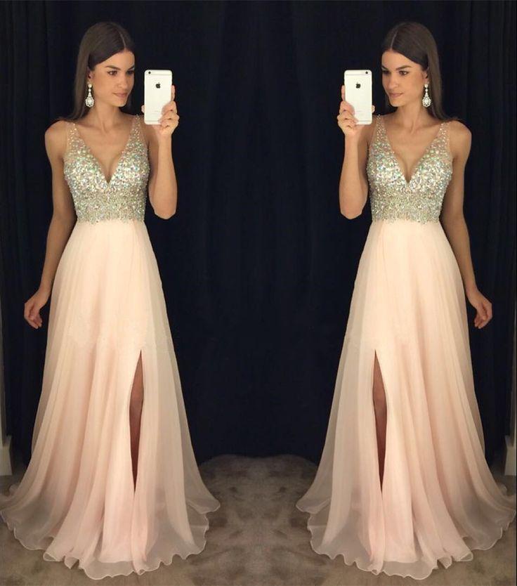 2017 Newest Prom Dress,V-neck Prom Dresses, Leg Slit Prom