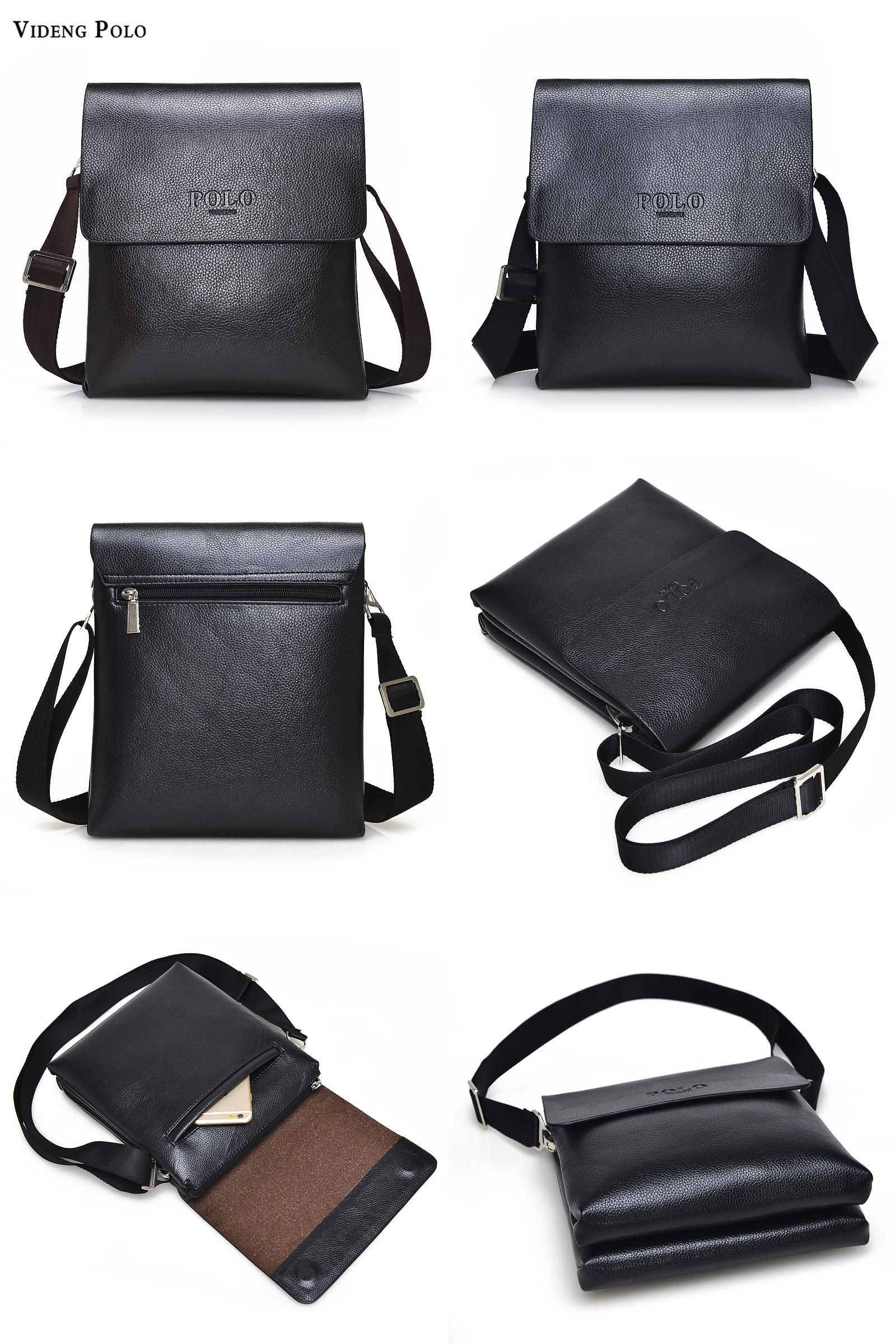 342df2000d  Visit to Buy  VIDENG POLO Hot Sell Brand Solid Double Pocket Soft  Crossbody Bag