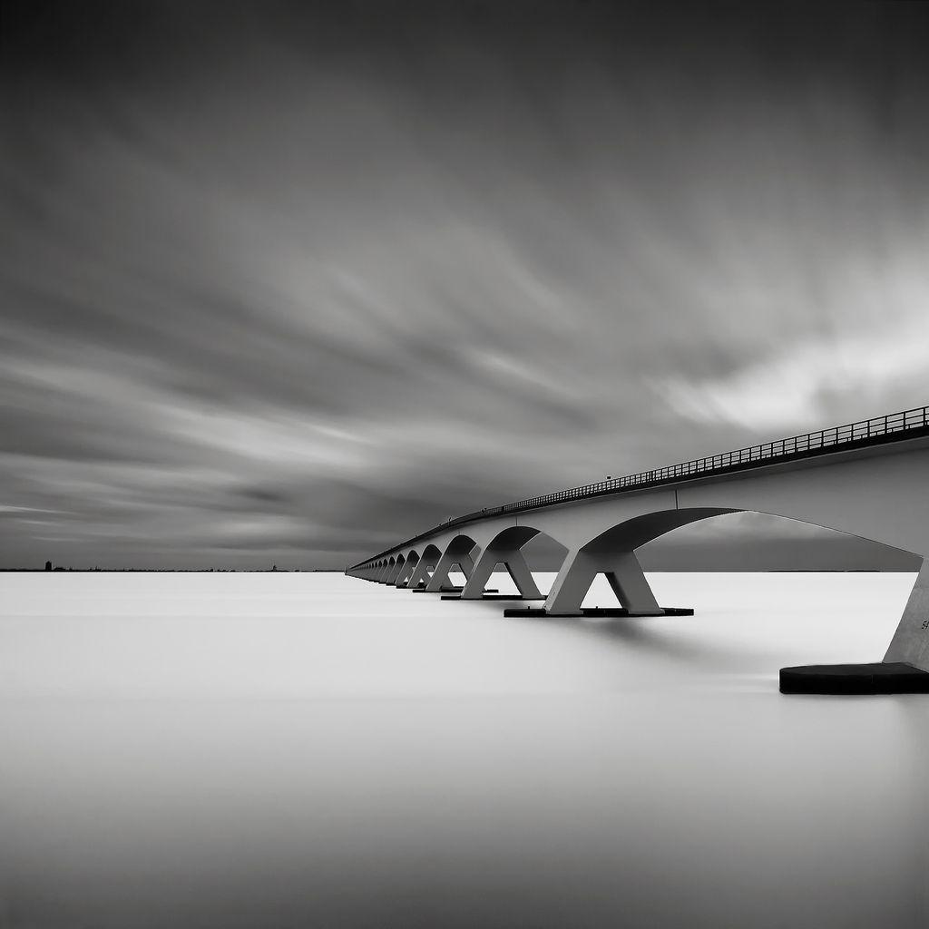 Darren moore black and white photo bridge over water bridge study iv by joel tjintjelaar