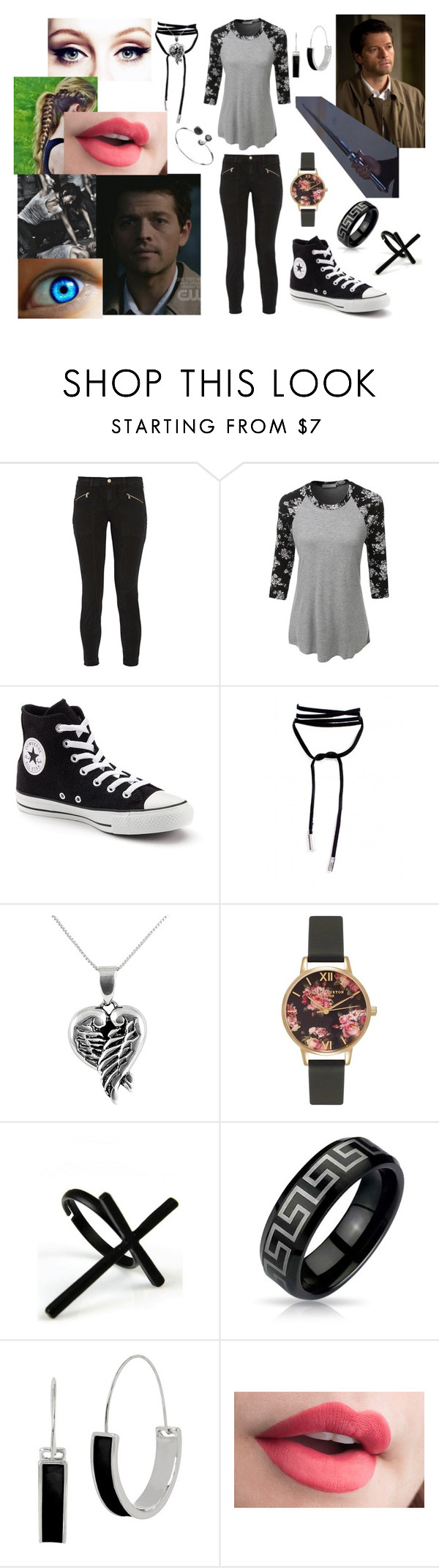 """Castiel's Angel"" by fabulouslynerdy on Polyvore featuring J Brand, LE3NO, Converse, Jewel Exclusive, Olivia Burton, Emi Jewellery, Bling Jewelry and Kenneth Cole"