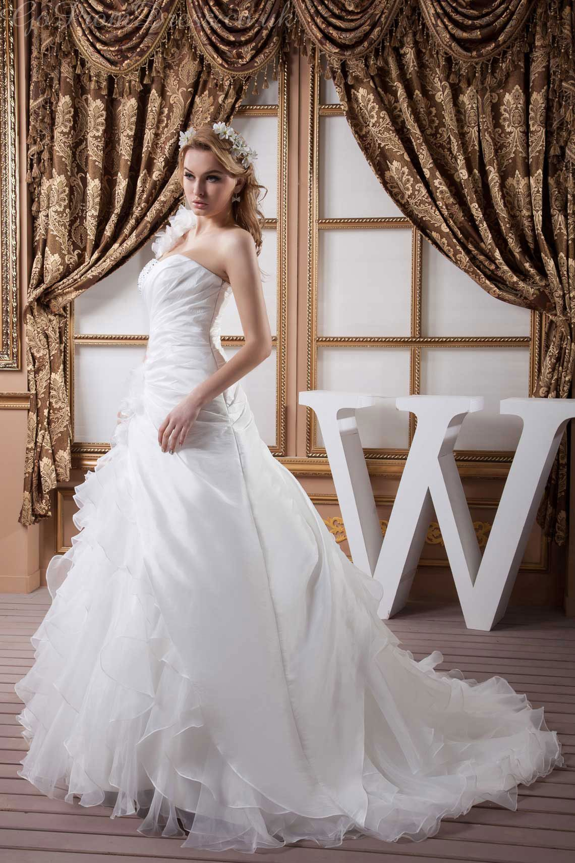 cb316a8cd41b1 A-line Organza One Shoulder Natural Waist Chapel Train Low Back Sleeveless  Beading Ruching Ruffles White Wedding Dress - gopromdres.com