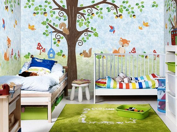 Wallpaper Kinderzimmer 55 x 35 squirrel family wallpaper nuts birds by dreamywall