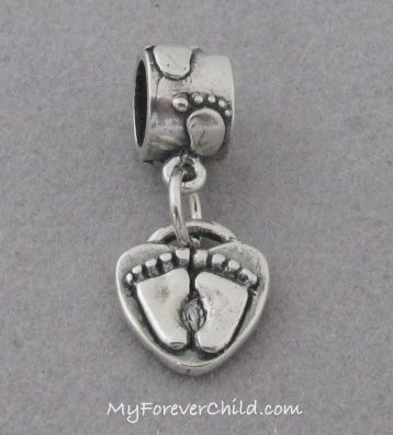 Baby Feet Dangle Bead With 3d Baby Feet Charm Sterling