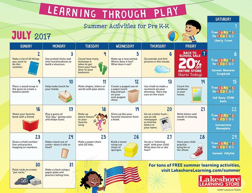 July  Pre KKindergarten Activity Calendar  Summer Learning