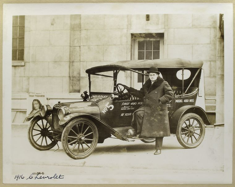 1916 Chevrolet.  [Interesting! Poster for the Yogi Paramahansa Yogananda in the background.]