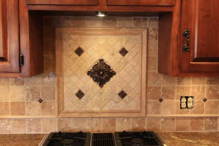 Kitchen Tile Work Backsplash Center Piece With Metal Accent Tiles Home Decorating Ideas