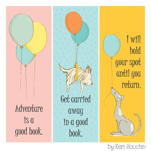 Products Bookmarks Design Inspiration And: Printable Puppy & Balloon Bookmarks
