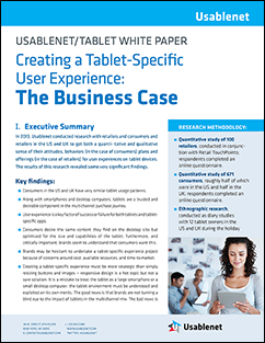 USABLENET/TABLET WHITE PAPER Your customers love their tablet - but do they love your brand on their tablet?