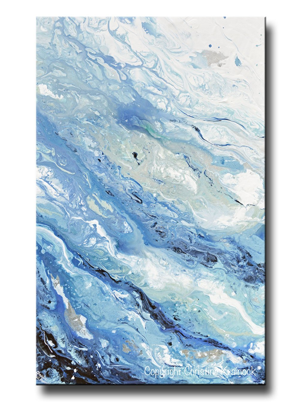 Giclee Print Art Abstract Painting Blue White Coastal Marbled Seascape Large Canvas Prints Wall Art Abstract Art Painting Large Canvas Prints Abstract Painting