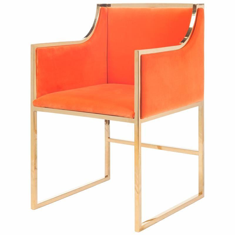 Anastasia Hollywood Regency Orange Velvet Brass Frame Dining Chair | Kathy Kuo Home