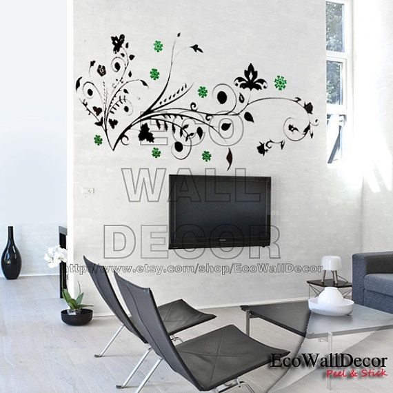 Peel And Stick Removable Vinyl Wall Sticker Mural Decal Art Lily Vine Frame With Green Flower Decoracion De Unas Vinilos Murales