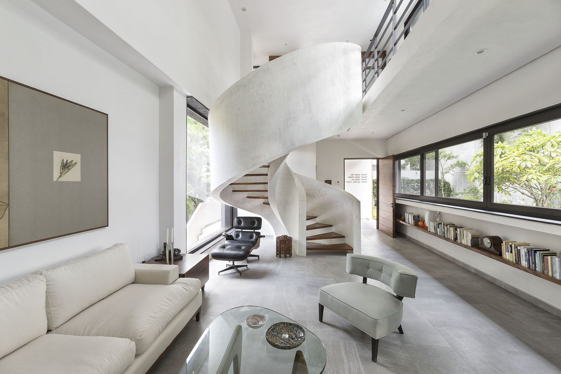 Best Spiral Concrete Staircase In A Slim Linear Residence In 400 x 300