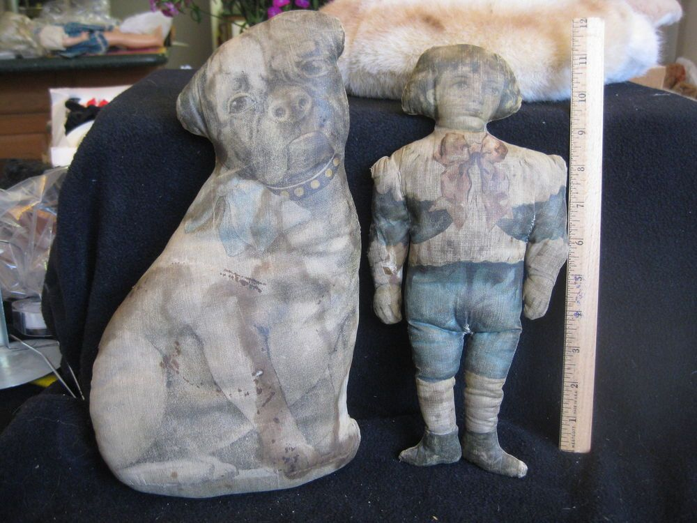 TWO ART FABRIC-TYPE DOLLS, PERHAPS BUSTER BROWN AND TIGE??