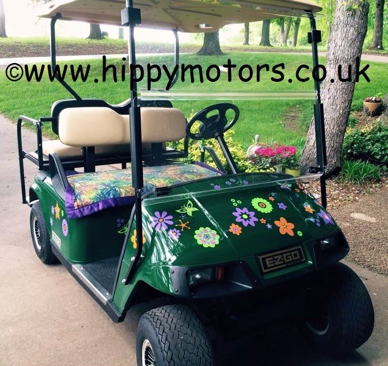 Hippy flowery golf buggy makes it more at one with nature http