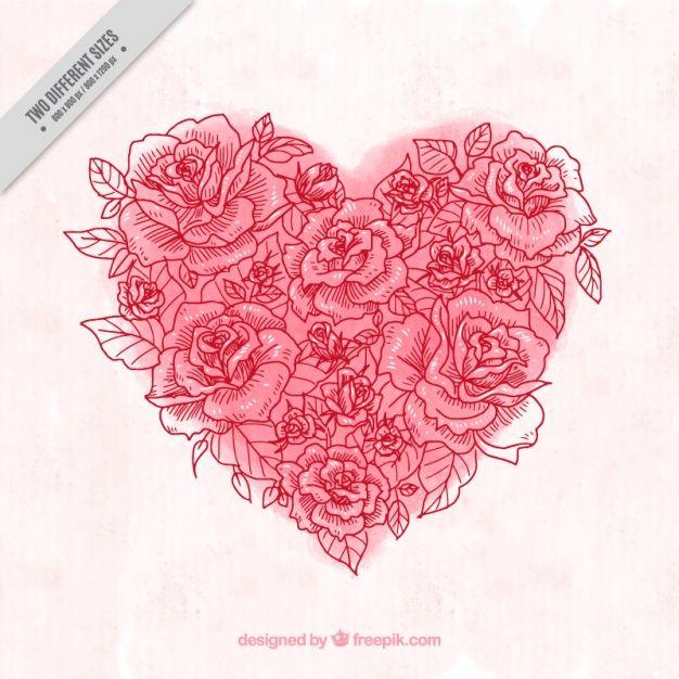 Fondo de corazón de acuarela hecho de bocetos de rosa Vector ...