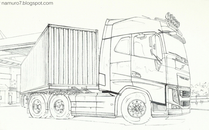 Draw Volvo Fh 6x4 Truck Globetrotter Volvo Trucks Truck Coloring Pages Cool Car Drawings