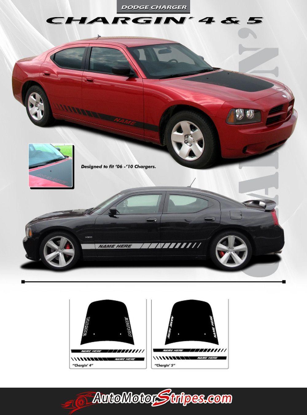 2006 2010 Dodge Charger Chargin 4 Hood Lower Rocker Strobe Hemi Daytona Style Vinyl Stripes 3m Decals Kit Dodge Charger Dodge Hemi
