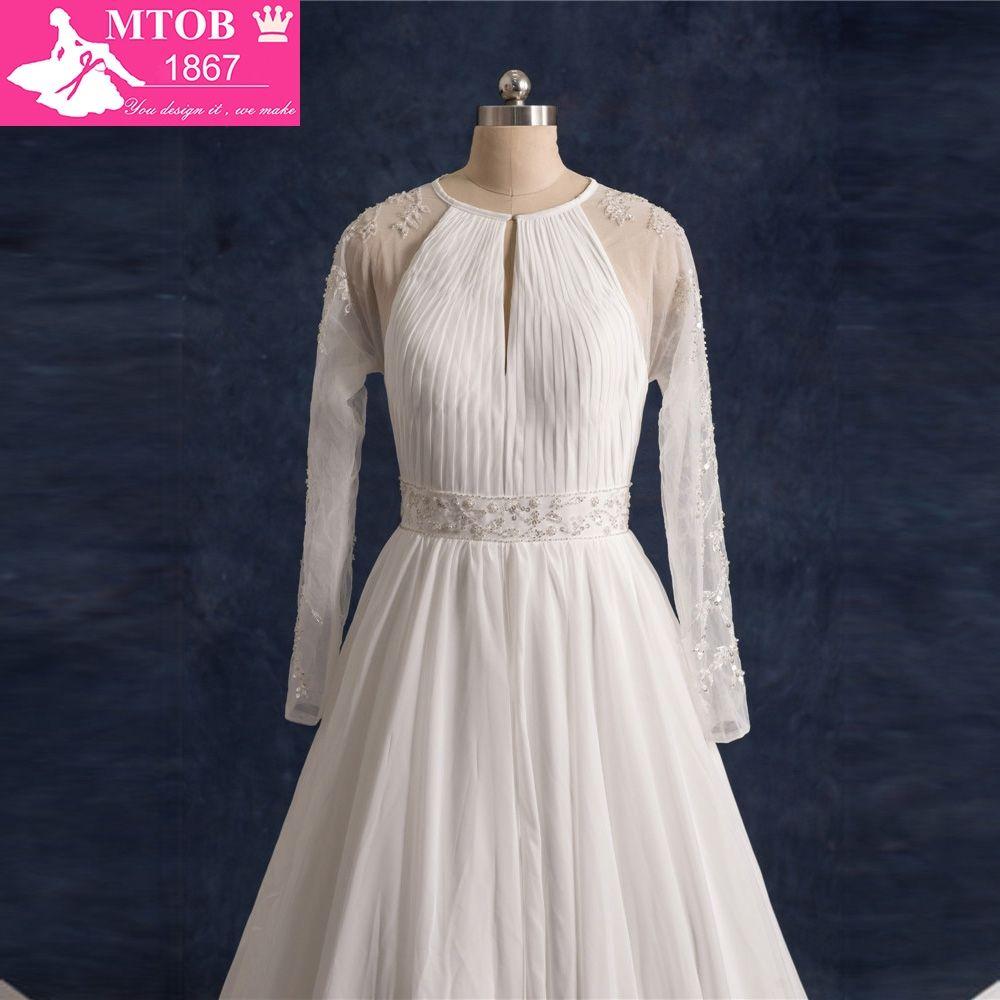 Vintage Wedding Dress 2017 Real Sample A-Line Long Sleeve Wedding ...