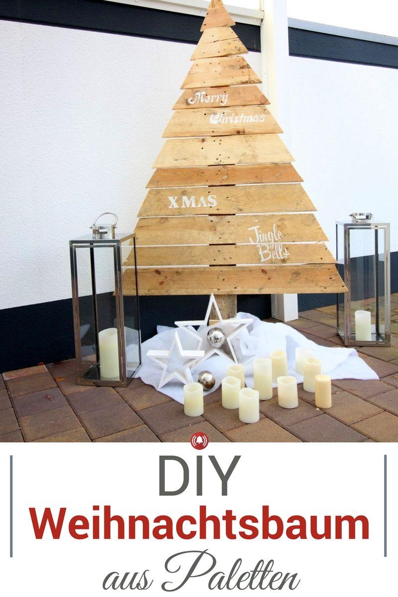 diy cooler weihnachtsbaum aus paletten f r drau en und. Black Bedroom Furniture Sets. Home Design Ideas