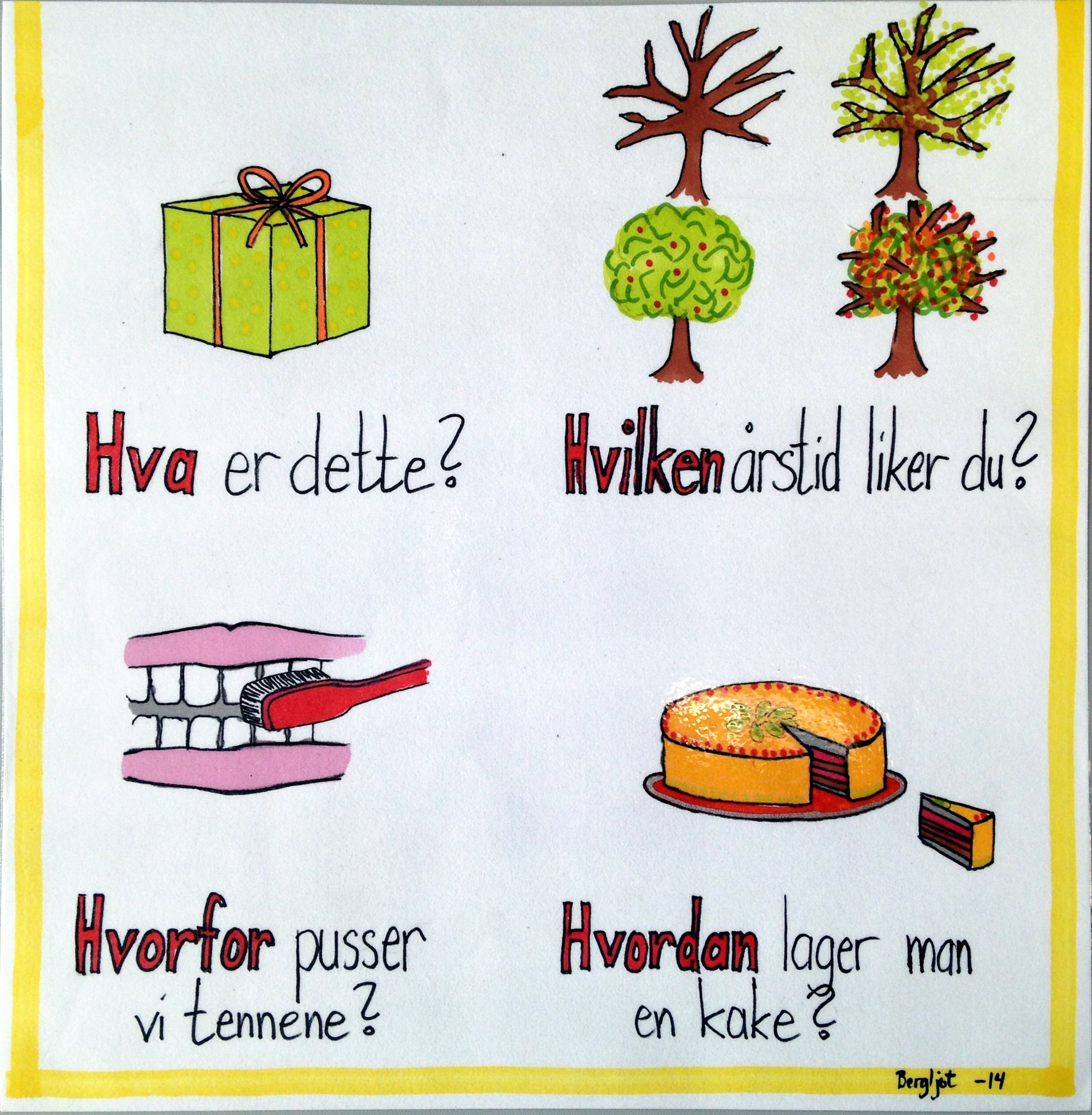 Spørreordene   lesekurs   Pinterest   Klasse, Grammatik und Plakate