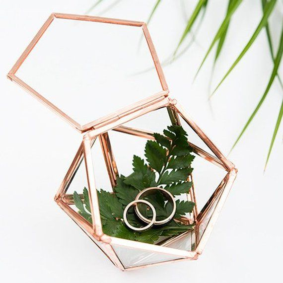 Wedding Ring Box Terrarium Ring Box Geometric Glass Ring Box