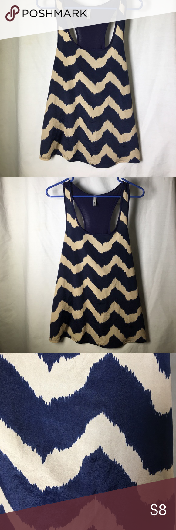 Bella d navy blue/beige chevron tank top Bella d chevron razorback tank top. Flowy style. Beige and navy blue. Size large bella d Tops Tank Tops