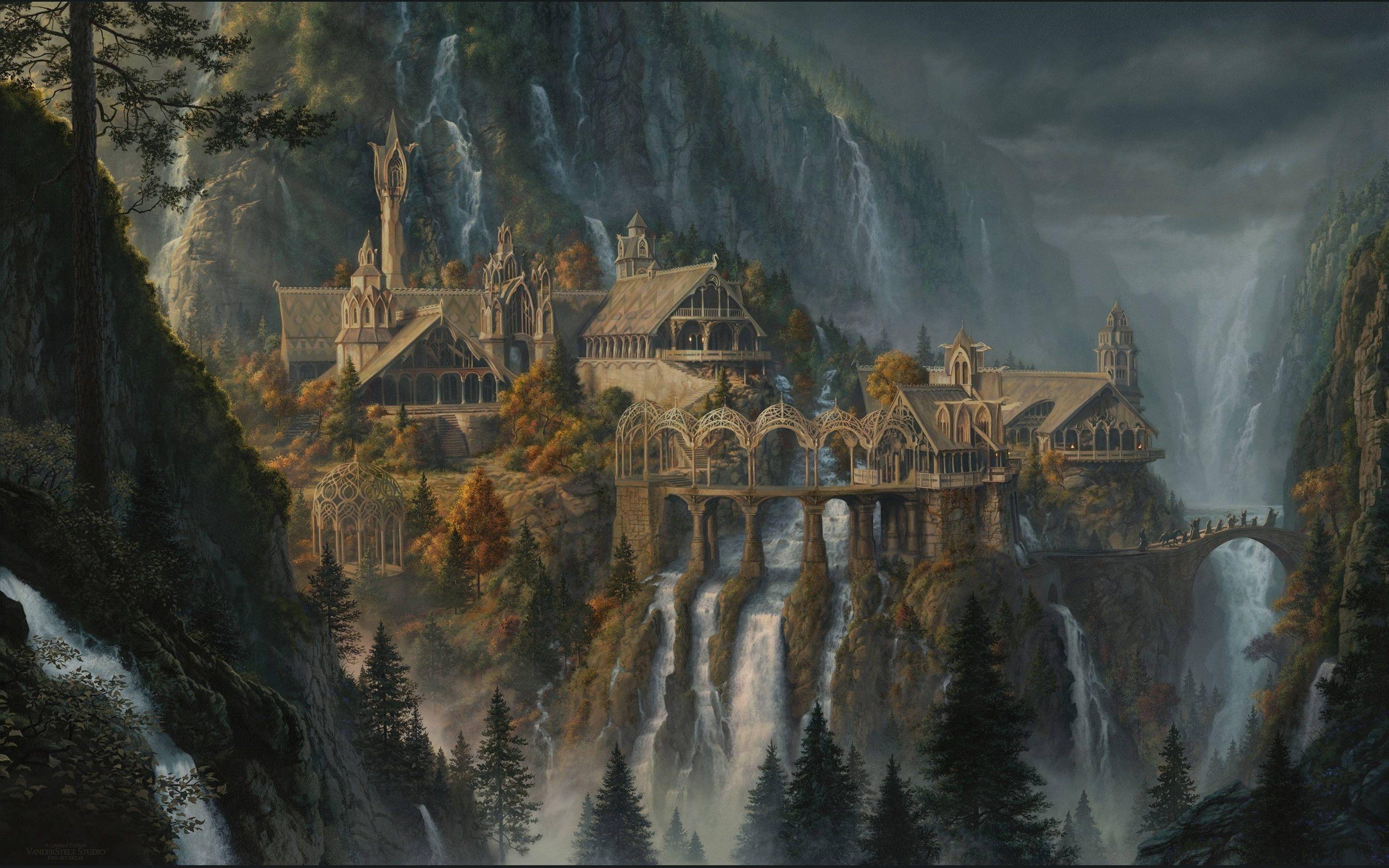 Art Artwork Cities Detail Lord Lotr Rings River Waterfall 4k Wallpaper Hdwallpaper Desktop In 2020 Castle Illustration Fantasy Art Hd Wallpaper