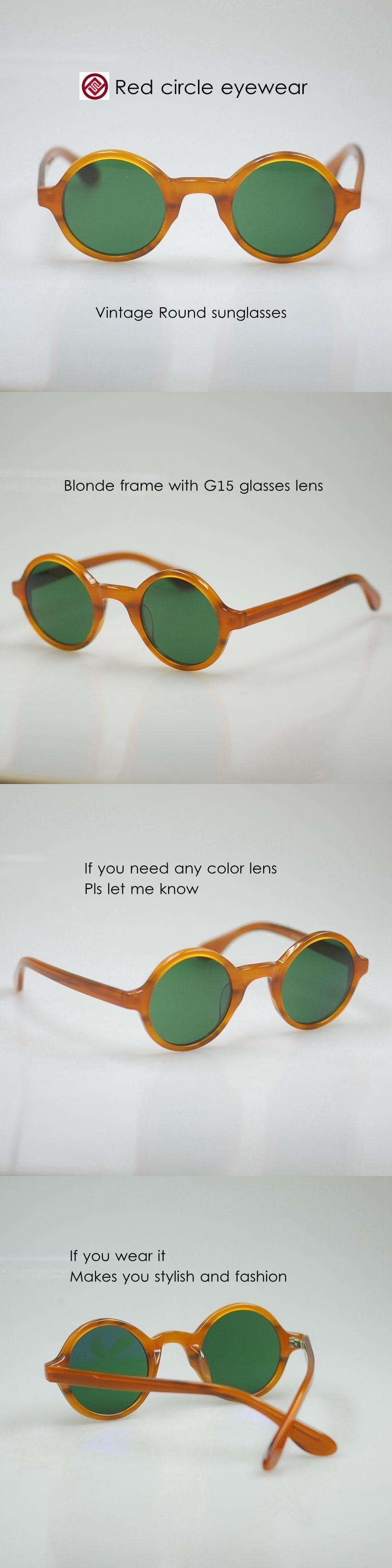 0408f55c56 Retro Vintage sunglasses Johnny Depp glasses BLONDE frame round green glass  lens