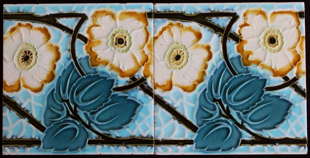 Art Deco Tegels : 2 jugendstil fliesen art nouveau tile c1900 tegels carreau blume #04