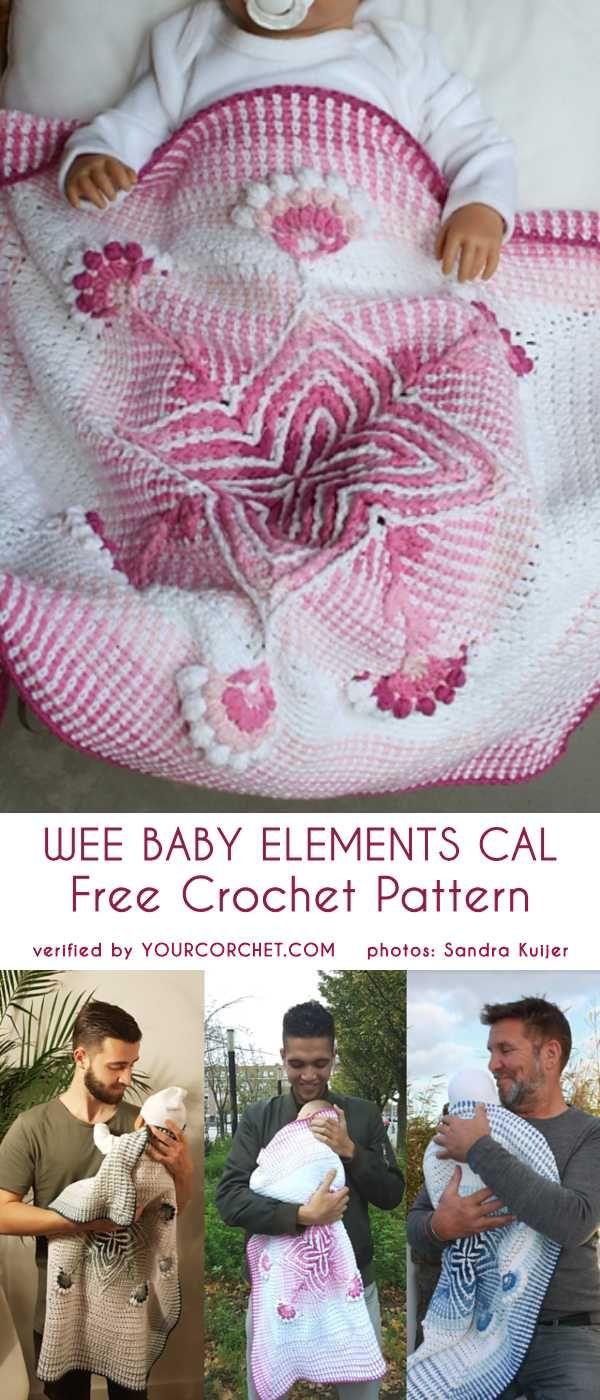Wee Baby Elements Cal Free Crochet Pattern #babyblanket