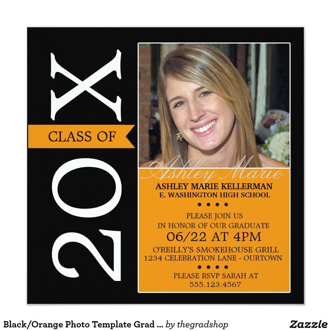 Black/Orange Photo Template Grad Invitations