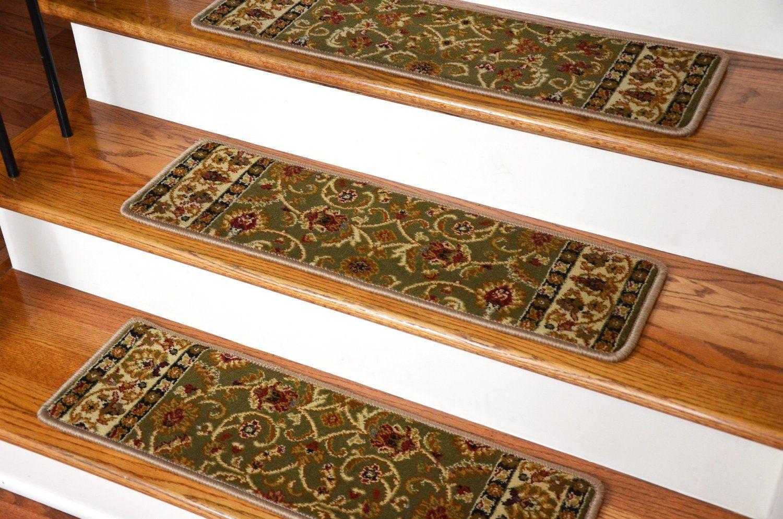 Dean Premium Carpet Stair Treads Classic Keshan Sage Green Rug