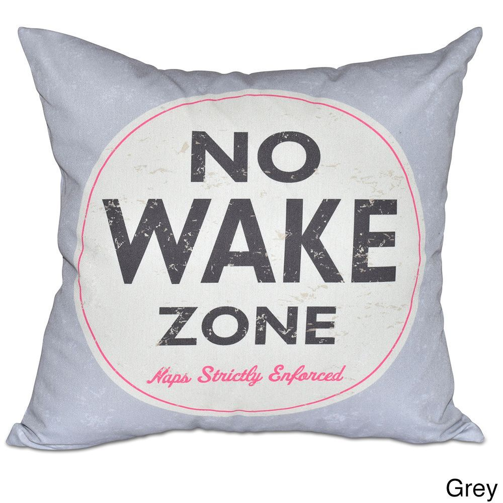 E by design nap zone word print inch pillow beige brown