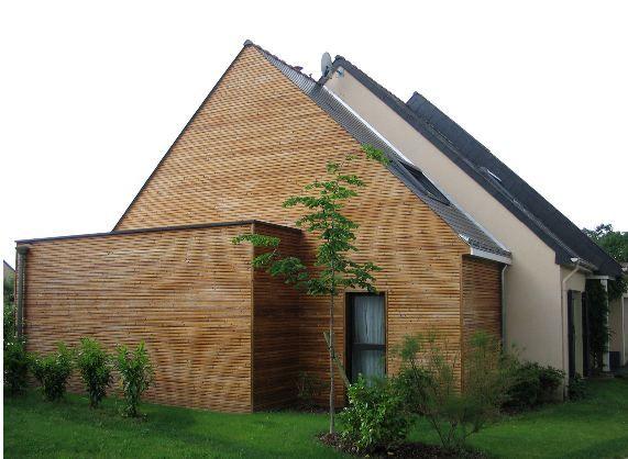 Extension bois maison - Extension en bois - Toiture en ardoise - maison bois en kit toit plat