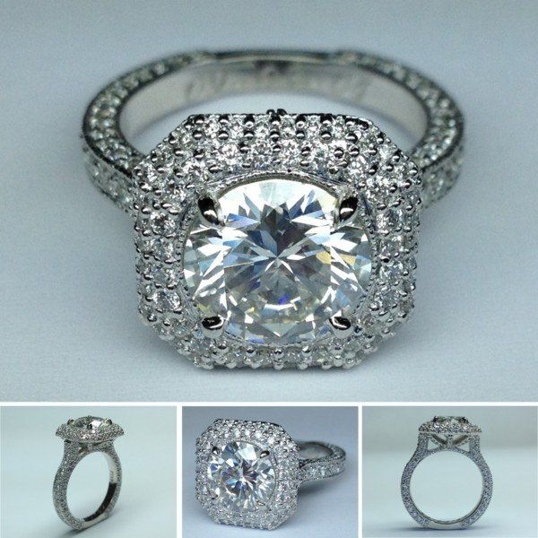 Double Halo Diamond Engagement Ring Pave Gallery