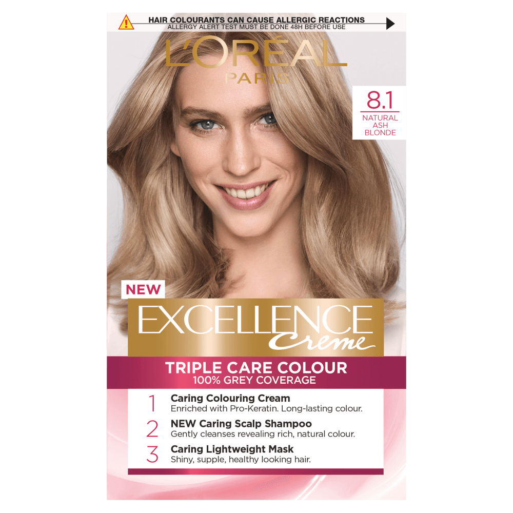 Buy L Oreal Paris Excellence Creme 8 1 Natural Ash Blonde Hair Dye Dyed Blonde Hair Ash Blonde Hair Dye Golden Blonde Hair Dye