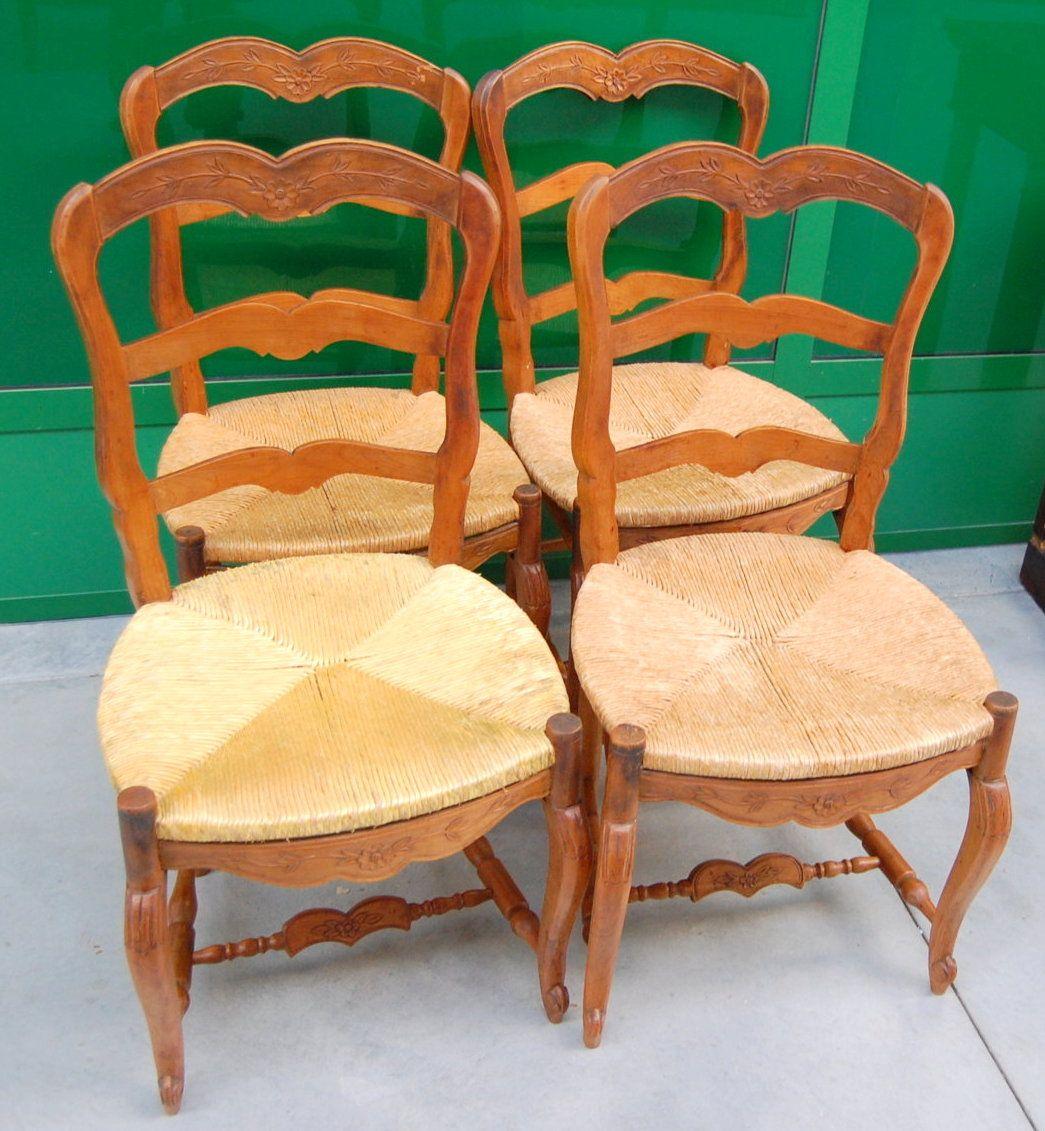 4 sedie provenzali in ciliegio inizio 39 900 paglia scolpite for Sedie fenice design