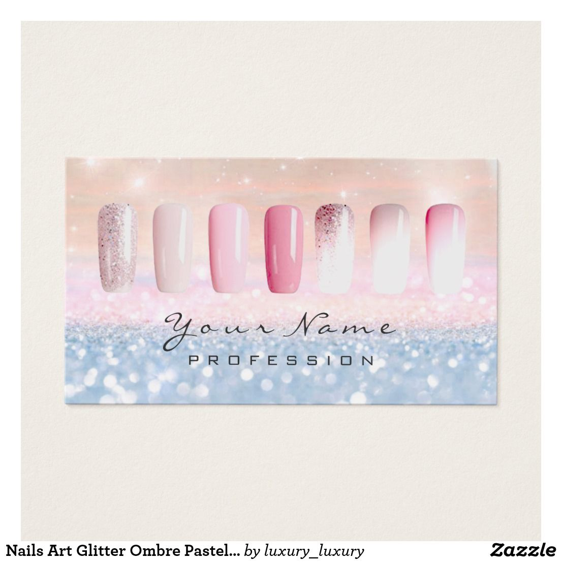 Nails Art Glitter Ombre Pastel Pink Rose Lux Business Card