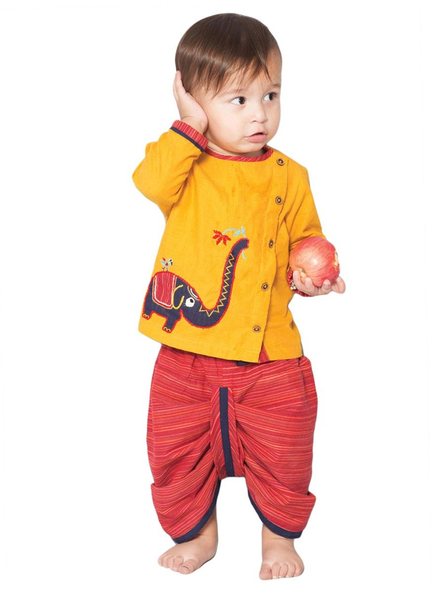 6838d6f613a75 Buy Red Yellow Blue Cotton Kurta with Embroidered Elephant and Elasticated  Waist Dhoti 100% Kids Indian wear Online at Jaypore.com