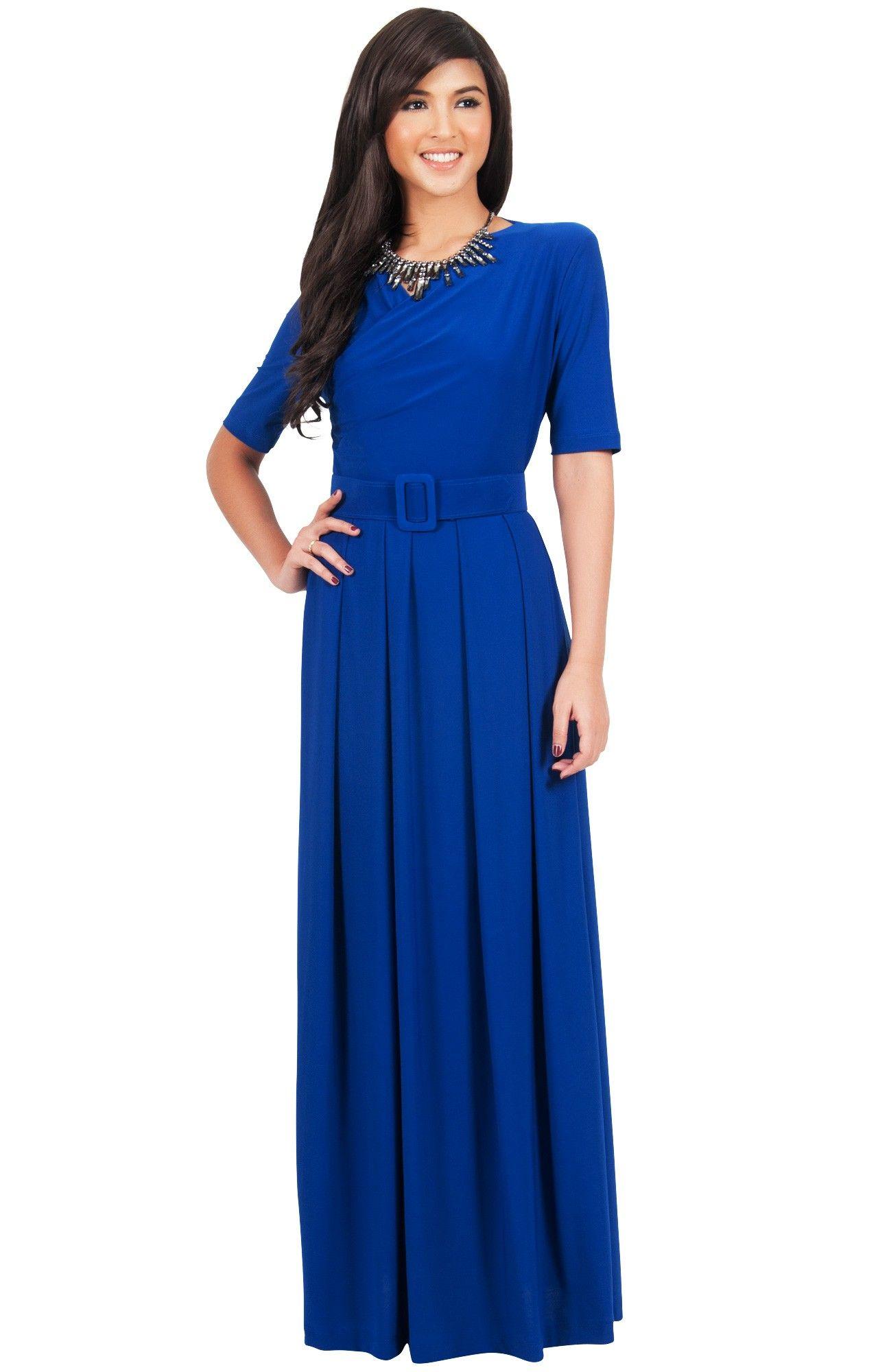 Arya long elegant modest short sleeve casual flowy maxi