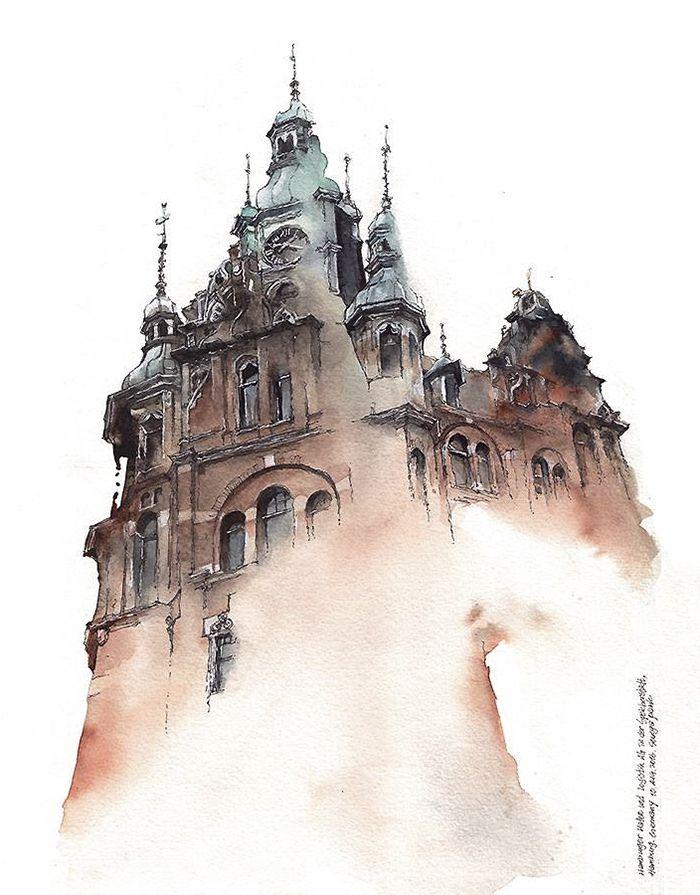 Korean Artist Watercolors Cities She Visits Watercolor City